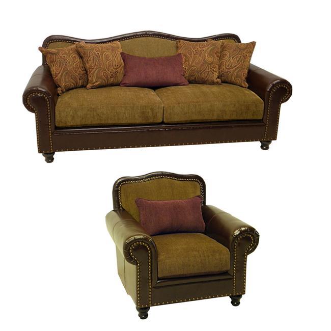 Shop Vincent Espresso Bronze Faux Leather Fabric Sofa And Chair