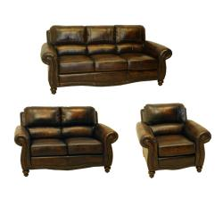 England Brown Hand Rubbed Italian Leather Sofa Loveseat And Chair