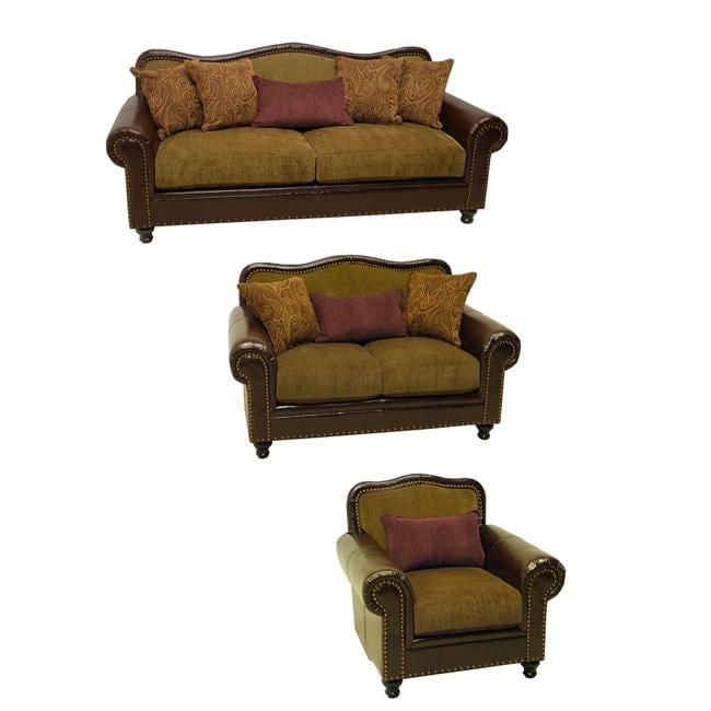 Shop Vincent Espresso Bronze Faux Leather Fabric Sofa Loveseat