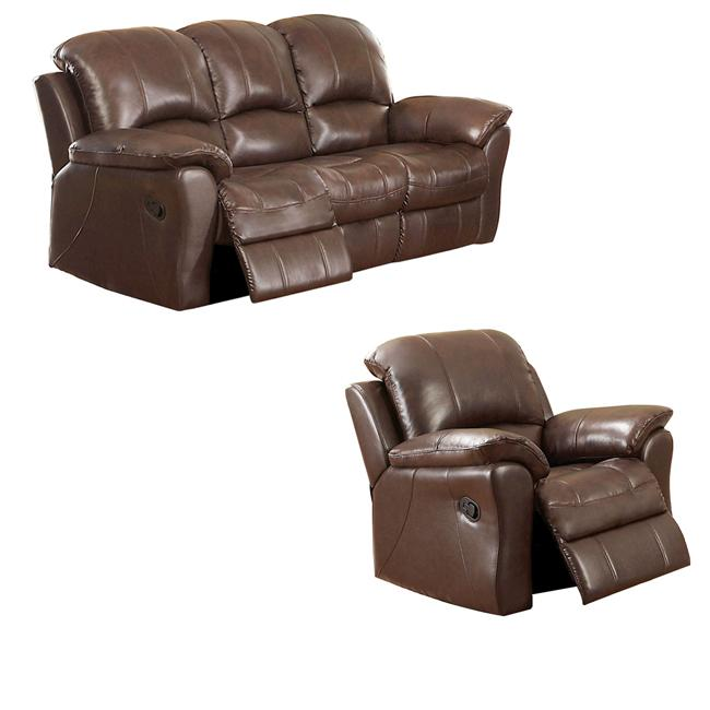 Carnegie Cocoa Italian Leather Reclining Sofa and Recliner Chair