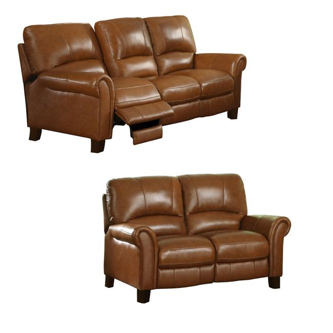 Charleston Honey Italian Leather Reclining Sofa And