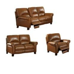 Admirable Charleston Honey Leather Reclining Sofa Loveseat And Reclining Chair Overstock Com Shopping The Best Deals On Sofas Couches Short Links Chair Design For Home Short Linksinfo