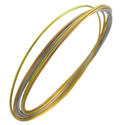Fremada 14k Tri-color Gold over Silver 7-piece Interlocking Bangle Bracelet