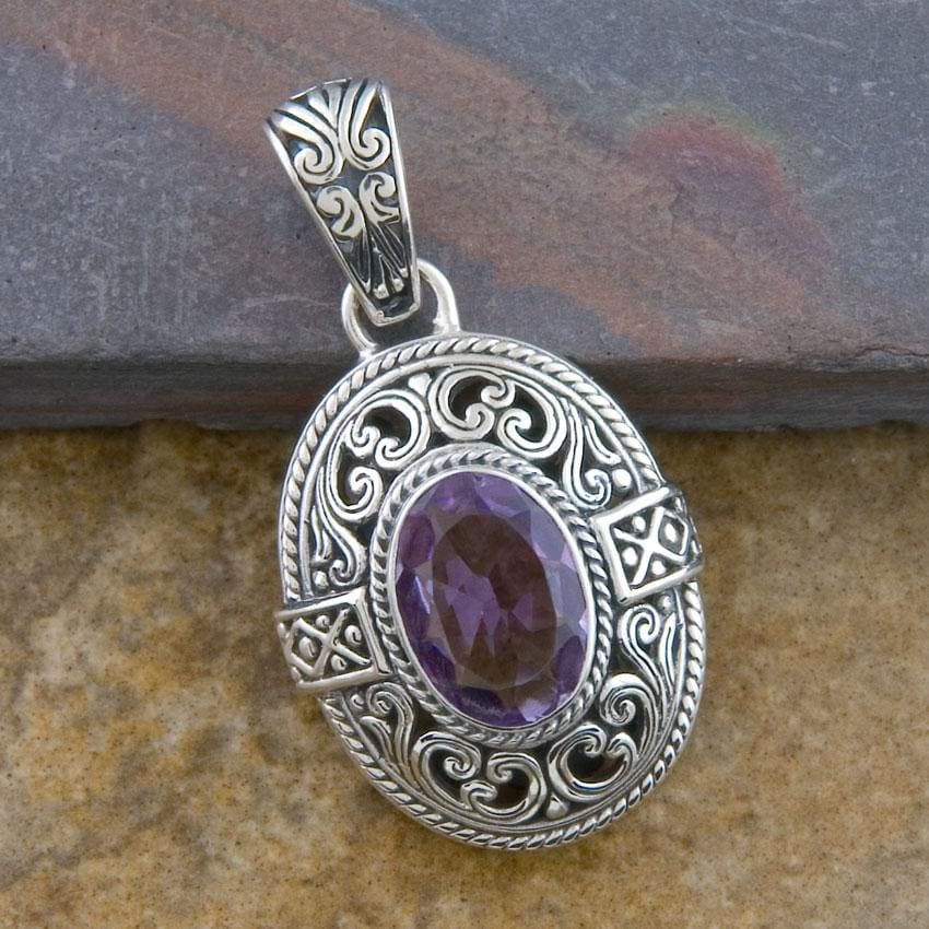 Sterling Silver 'Cawi' Amethyst Pendant (Indonesia)