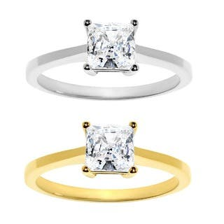 14k Yellow or White Gold 1ct TGW Princess-cut Cubic Zirconia Solitaire Ring|https://ak1.ostkcdn.com/images/products/7204601/P14690247.jpg?impolicy=medium