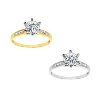 14k Yellow or White Gold 1 1/10 Carat Round-Cut Cubic Zirconia Engagement Ring