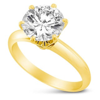 14k Yellow or White Solid Gold 1ct Round Cubic Zirconia Solitaire Ring