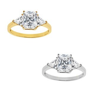 14k Yellow or White Solid Gold 2ct TGW Radiant and Triangles-cut Cubic Zirconia 3-Stone Engagement Ring