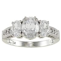 14k White Solid Gold 2 1/2ct TGW Oval-cut Cubic Zirconia 3-Stone Ring