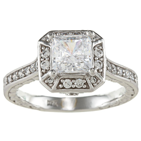 14k White Solid Gold 1 3/4ct Princess-cut Cubic Zirconia Halo Engraved Ring - White Solid Gold