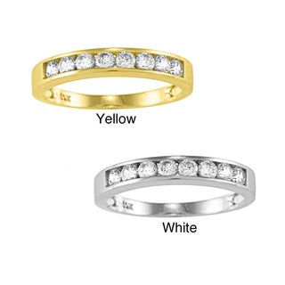 14k Yellow or White Solid Gold 1/2ct TGW Round-cut Cubic Zirconia Channel Band