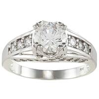 14k White Solid Gold 2 1/2ct TGW Round-cut Cubic Zirconia Cocktail Ring - White Solid Gold