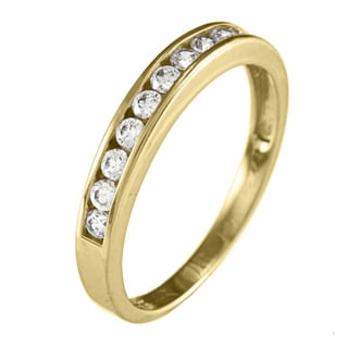 14kt White or Yellow Solid Gold 1/3ct TGW Round-cut Cubic Zirconia Channel Band