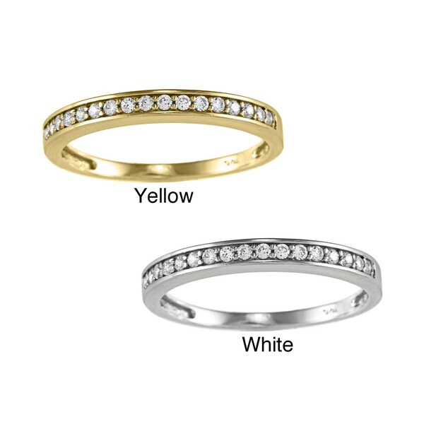 14k Yellow or White Solid Gold 1/5ct TGW Round-cut Cubic Zirconia Wedding Band