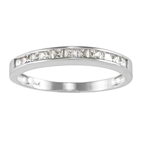 14k Yellow or White Solid Gold 5/8ct TGW Princess-cut Cubic Zirconia Channel Band