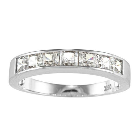 14k Yellow or White Solid Gold 1 1/3ct Princess-cut Cubic Zirconia Channel Band