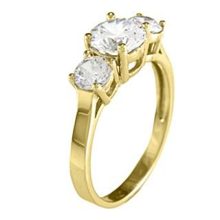 14k Yellow or White Gold 1 3/4ct TGW Round Cubic Zirconia 3-Stone Ring