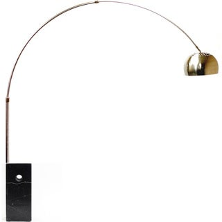 Arco Style Lamp with Black Cube Marble Base