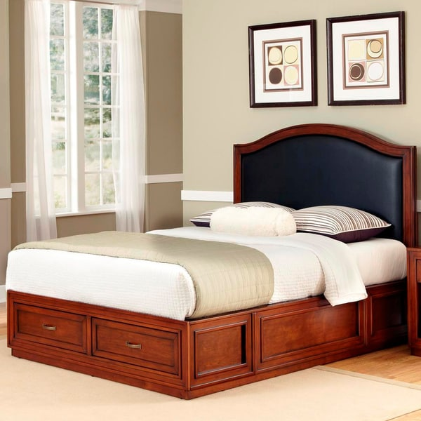 Duet Platform Queen Black Leather Inset Bed by Home Styles