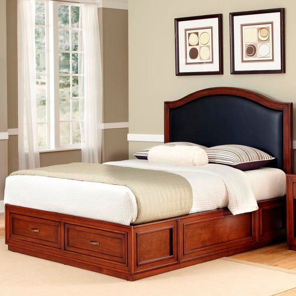 Home Styles Duet Platform Queen Black Leather Inset Bed