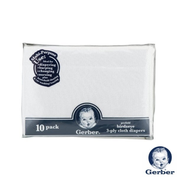 Gerber Prefold 3-Ply Birdseye White Cloth Diapers (Pack of ...