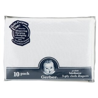 Gerber Prefold 3-Ply Birdseye White Cloth Diapers (Pack of 10)