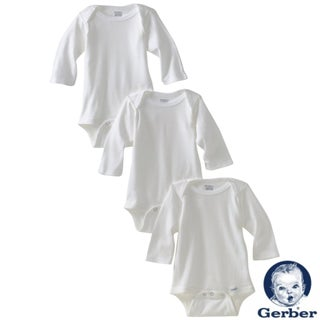 Gerber White Long Sleeve Bodysuit (Pack of 3) (3 options available)