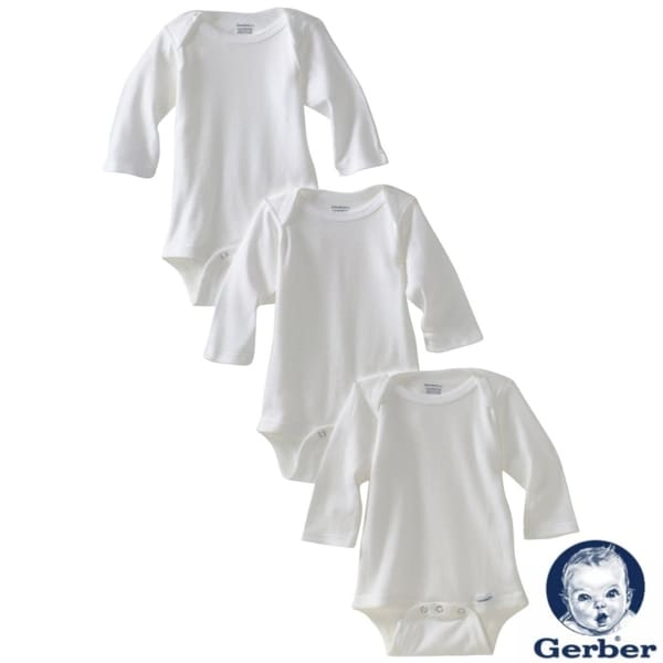 Gerber White Long Sleeve Bodysuit (Pack of 3)