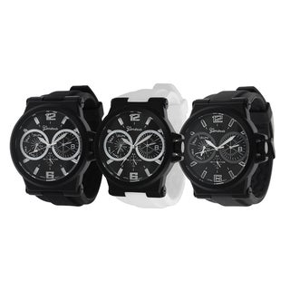 Geneva Platinum Men's Chronograph-Style Silicone Watch with White Hands
