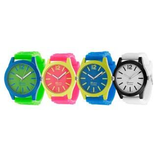 Geneva Platinum Women's Japanese Quartz Neon Pop Silicone Watch