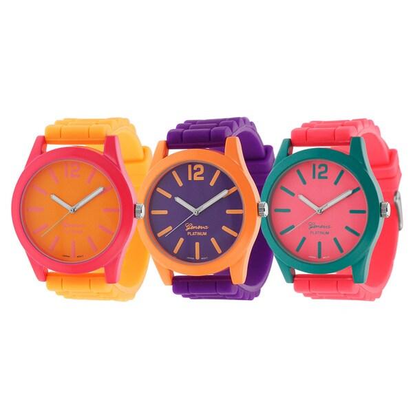 Geneva Platinum Women's Neon Pop Silicone Watch