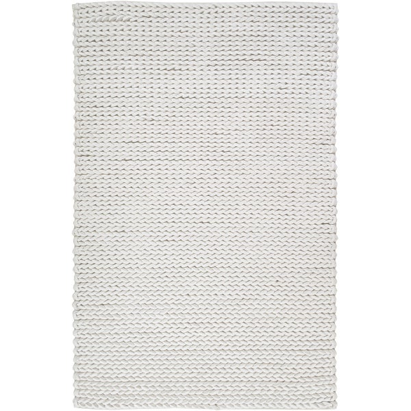 Hand-woven Albali IvoryBraided Texture New Zealand Wool Rug (2' x 3')