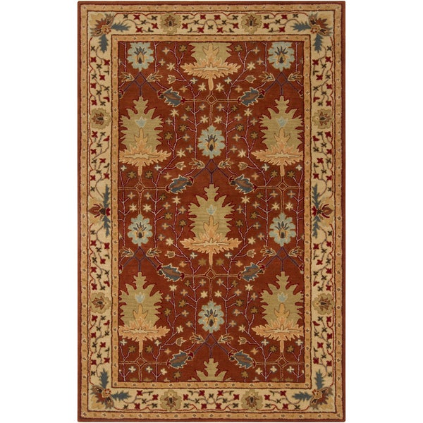 Hand-tufted Burgundy Traditional Bordered Alnilam Wool Rug (2' x 3')