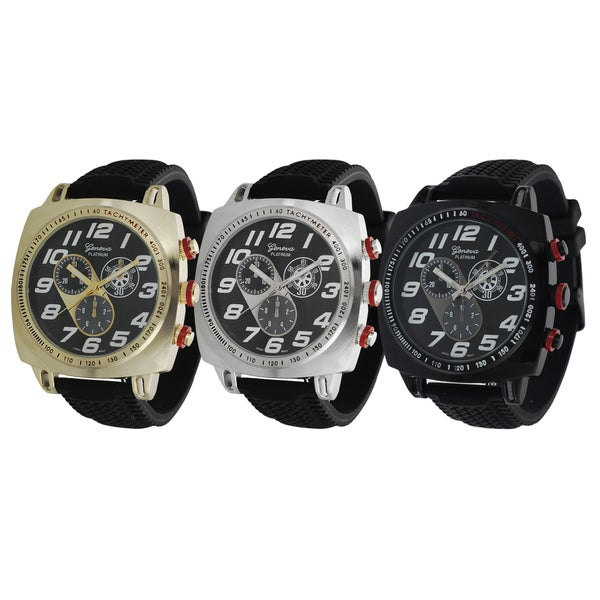 Geneva Platinum Men's Bold Chronograph-style Silicone Watch