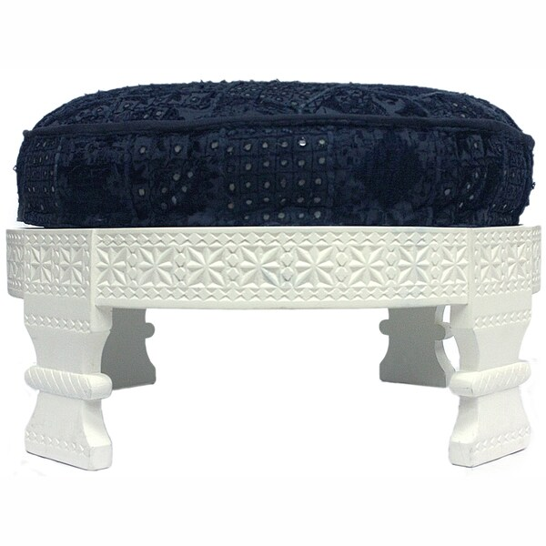 Handmade Cotton-Upholstered Chakki Navy Ottoman