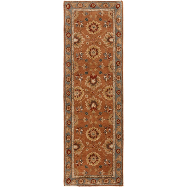 Hand-tufted Traverse Dark New Zealand Wool Rug (2'6 x 8')