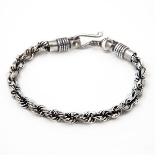 Handmade Silverplate Snake Chain Bracelet (India)