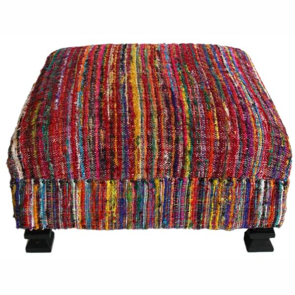 nuLOOM Handmade Casual Living Sari Silk Multi Ottoman Pouf
