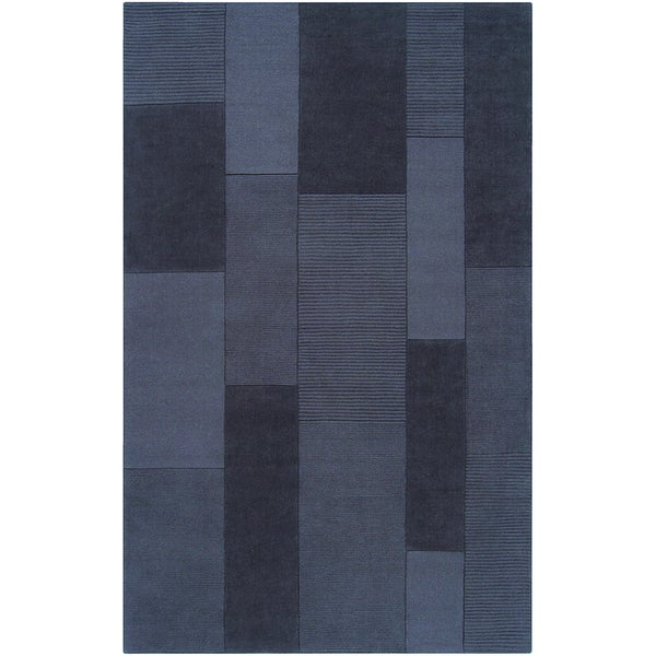 Loomed Edasich Navy Gray Wool Rug (8' x 11')