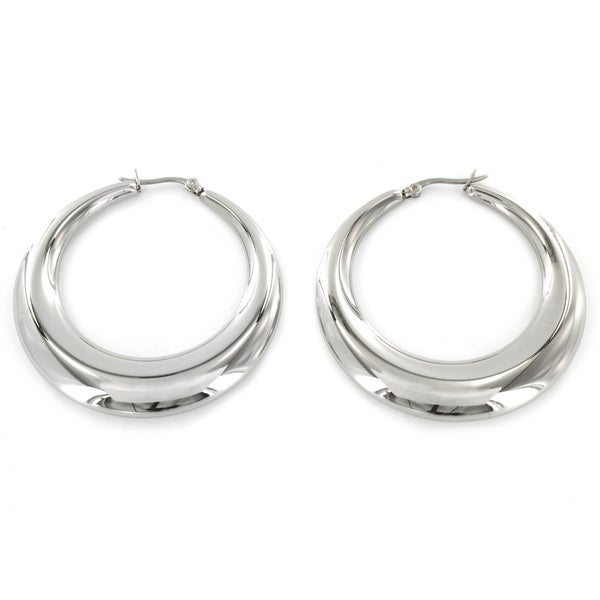 Stainless Steel Hollow Hoop Earrings