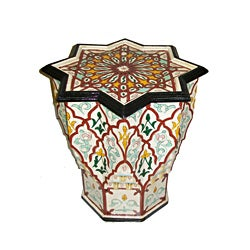 White and Red Handpainted Arabesque Wooden Moroccan Star End Table (Morocco)