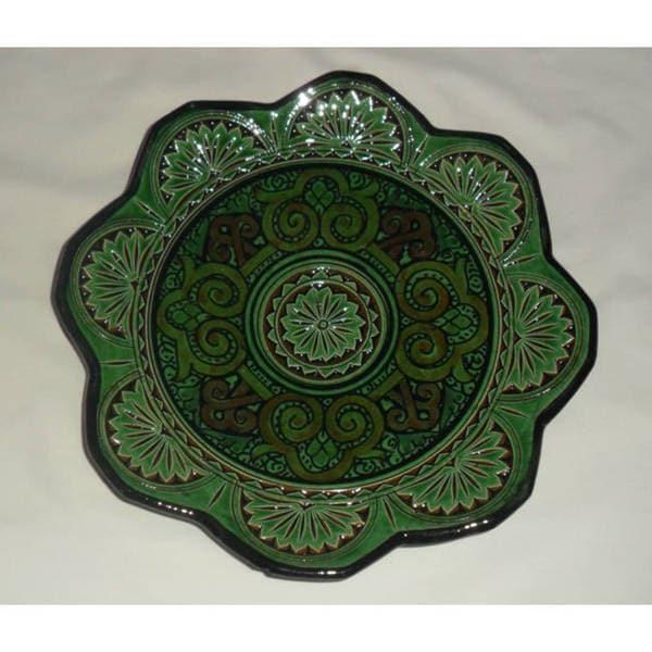 Green and Blue Ceramic Iris Plate (Morocco)