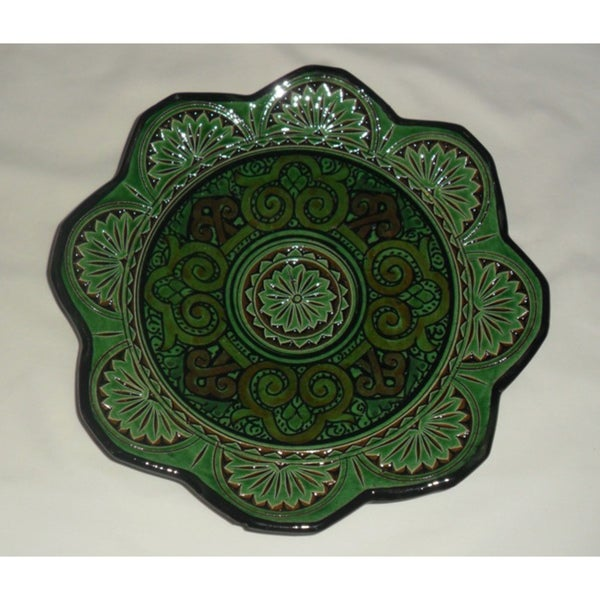 Green and Blue Ceramic Iris Plate (Morocco)