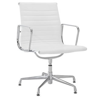 White Genuine Leather Ribbed Mid Back Conference Office Side Chair