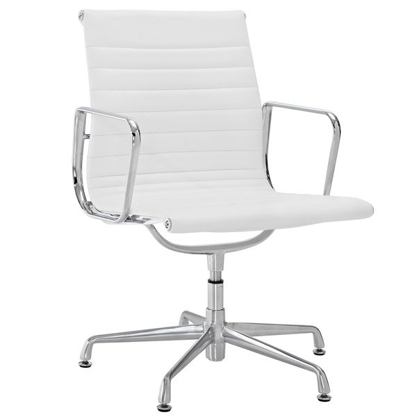 Shop White Genuine Leather Ribbed Mid Back Conference