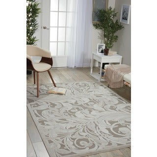 Nourison Graphic Illusions Silver Swirl Transitional Multi Rug (2'3 x 3'9)