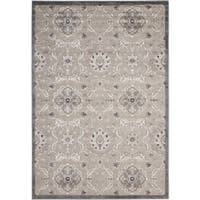 """Nourison Graphic Illusions Grey Modern Traditional Rug - 2'3"""" x 3'9"""""""