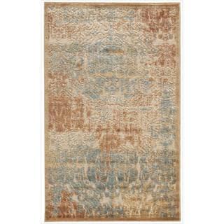 Nourison Graphic Illusions Light Gold Antique Damask Rug (2'3 x 3'9)