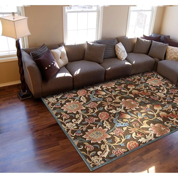 Nourison Graphic Illusions Floral Brown Rug (2'3 x 3'9)