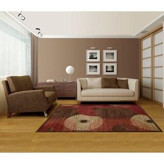Nourison Graphic Illusions Circular Brown Multi Color Rug (2'3 x 3'9)